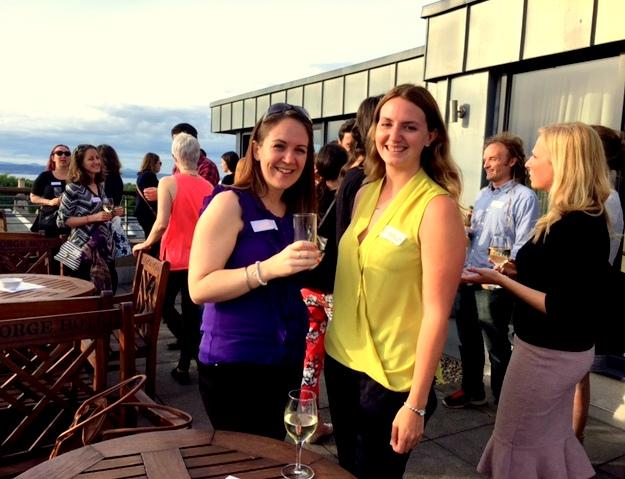 Enjoying sunshine and drinks on the terrace